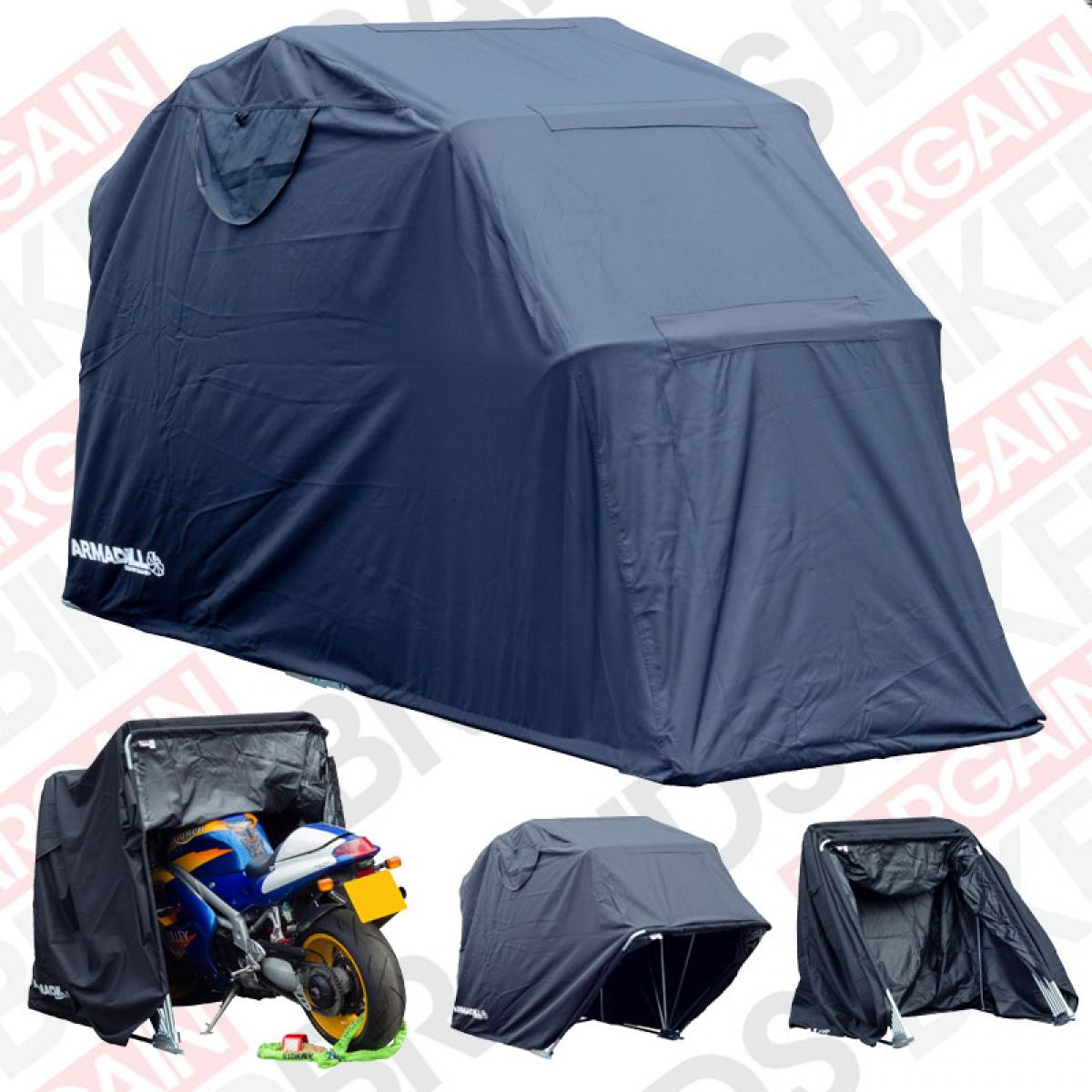 Armadillo motorcycle scooter folding design garage - Motorcycle foldable garage tent cover ...