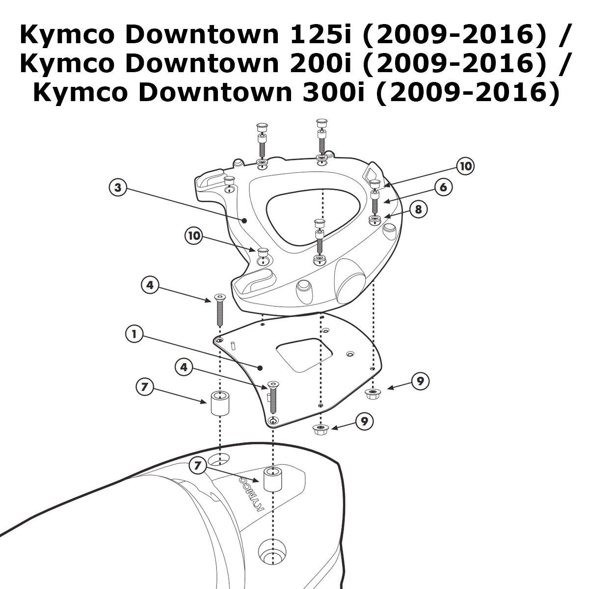 Kappa Kr92 Specific Rear Top Box Rack Kymco Downtown 125i 200i Engine Diagram Item Description